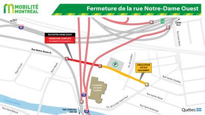 Entraves sur le réseau municipal - secteur Turcot (Groupe CNW/Ministère des Transports, de la Mobilité durable et de l'Électrification des transports)