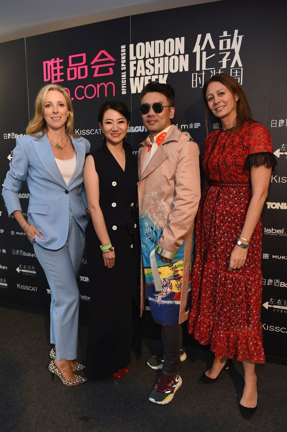 Hosted at the BFC showspace on 13th September 2018, Chinese e-commerce powerhouse  Vip.com  presents four Chinese designers [Mukzin, Bailuyu, A Life On The Left & KISSCAT] at London Fashion Week for the first time. Left to right: Stephanie Phair, BFC Chairman, Susan Sun, VP Merchandising VIP.com, Tony Feng, VP Marketing and Caroline Rush, BFC CEO. (PRNewsfoto/Vip.com)