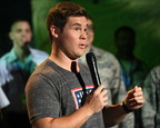 USO tour veteran and actor-comedian Adam Devine cuts it up with the crowd at the World's Biggest USO Tour, a live entertainment experience at The Anthem in Washington, D.C., Sept. 12, 2018, bringing the USO mission to life and paying tribute to service members around the world. USO photo.