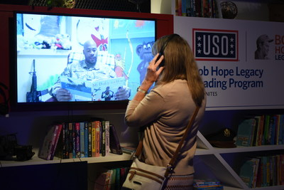 An interactive reading display at the World's Biggest USO Tour highlights the Bob Hope Legacy Reading Program, which strengthens families by keeping them connected during deployment or other times of separation. The World's Biggest USO Tour is a live entertainment experience at The Anthem in Washington, D.C., Sept. 12, 2018, bringing the USO mission to life and paying tribute to service members around the world. USO photo by Cherie Cullen.