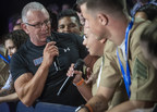 Chef Robert Irvine addresses a service member at the World's Biggest USO Tour in Washington, D.C., Sept. 12, 2018. DoD Photo by Navy Petty Officer 1st Class Dominique A. Pineiro.