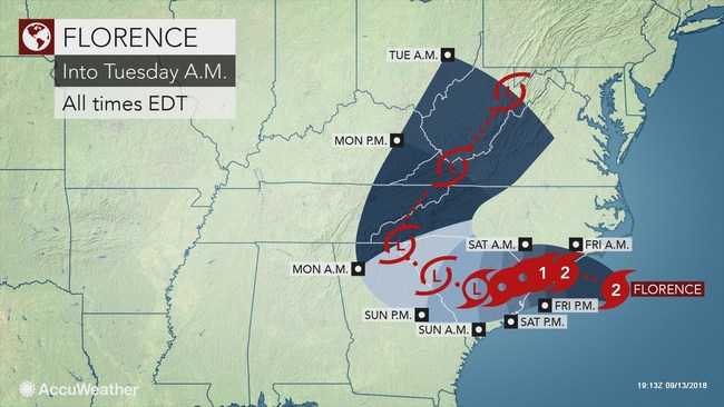 Hurricane Florence is on a path of destruction that will put millions of people at risk and threaten billions of dollars in property damage, centered on the Carolinas. AccuWeather estimates that Hurricane Florence will cause $30-60 billion in economic impact and damage. Despite losing wind intensity since its peak, Florence has grown substantially in overall size and its predicted deceleration in forward speed will take a costly toll.