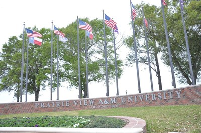 Pictured entrance gates to the campus of Prairie View A&M University