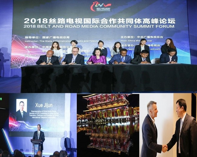 Top - Belt & Road Community Media Forum; Bottom, L to R:Jijun Xue, Representative of China Media Group, Chairman and President of CITVC; Xi'an China; L to R: JP Bommel, President and CEO with Tang Shiding, CITVC Vice President