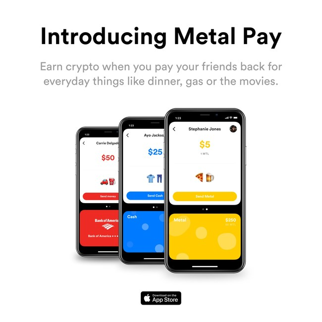 Metal Pay Launches With Peer-to-Peer Payments App That Rewards Users With Free Cryptocurrency