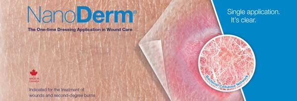 Nanoderm® (Xylinum Nanofibrillar Cellulose) advanced wound dressing is a Canadian bioengineered microfiber based film of pure cellulose indicated for the treatment of a variety of wounds such as chronic ulcers and burns. For more information visit nanoderm.ca (CNW Group/Canbridge Sciences Inc.)