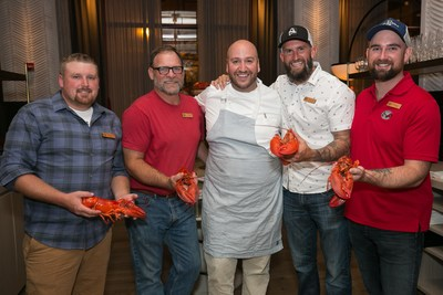 Chef Jimmy Papadopoulos (center) and lobsterman (L to R) Dustin Delano, Jim Dow, Brian Rapp and Mike Sargent bond over a love of Maine's best kept secret: Maine New Shell Lobster at the Trap to Table chef industry event at Bellemore on Thursday, Sept. 13, 2018 in Chicago. The event allowed chefs to learn about the sustainability, heritage and culinary applications of Maine Lobster. For information on Maine Lobster, visit www.lobsterfrommaine.com.