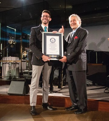Tony Bennett receiving Guinness World Record accreditation on 9/12/18 at the Rainbow Room launch party of his new album with Diana Krall, LOVE IS HERE TO STAY. (pictured: Alex Angert, Guinness World Record adjudicator and Tony Bennett/Photo credit: Gregg Greenwood)