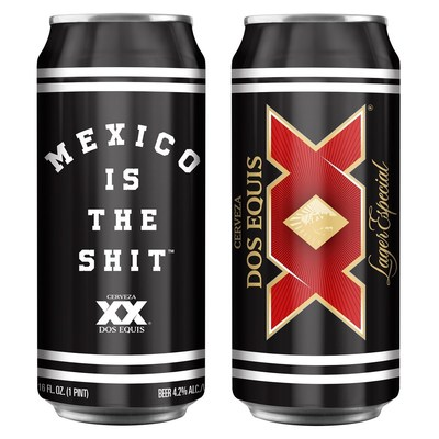Las latas de marca compartida Mexico is the Shit y Dos Equis estarán disponibles en 2019 por un tiempo limitado. (PRNewsfoto/Dos Equis)