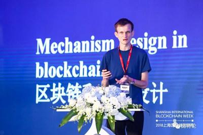 Vitalik Buterin at the 4th Wanxiang Global Blockchain Summit 2018 (PRNewsfoto/DBA Foundation)