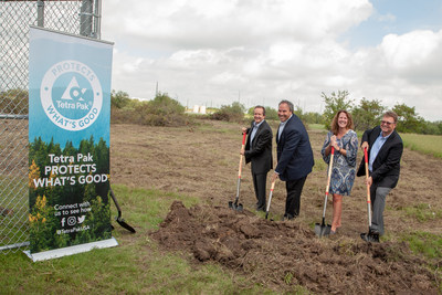 Tetra Pak leadership break ground on a new solar array at the company's Denton, Texas campus. The move is part of Tetra Pak's goal to use 100 percent renewable electricity in the U.S. by 2019 and worldwide by 2030. Pictured (left to right): Adolfo Orive - vice president, Tetra Pak Americas; Jason Pelz - vice president of circular economy, Tetra Pak Americas & Southeast Asia and Oceania; Carmen Becker - president and CEO, Tetra Pak U.S. & Canada; Charles Posey - vice president or supply