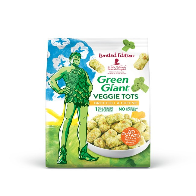 Green Giant Veggie Tots benefiting St. Jude Children's Research Hospital. Artwork by Addy, age 4, and Bailey, age 13, is featured on the new packaging that will be available in grocery stores nationwide this fall.