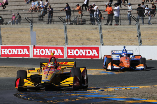 Ryan Hunter-Reay, #28, took his Honda to victory Sunday at the INDYCAR Grand Prix of Sonoma.  Scott Dixon, #9, finished second to clinch his record-tying fifth drivers' championship.  Honda claimed its seventh Manufacturers' Championship with 11 victories from 17 races this season. (PRNewsfoto/Honda Racing)