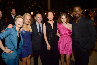 """(Pictured from left) Kate McKinnon, Elisabeth Moss, Jeffrey Katzenberg, Sandra Oh, Millie Bobby Brown, and Sterling K. Brown at MPTF's 12th annual """"Evening Before"""""""