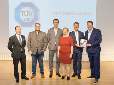 From left to right: Andres De Leon, COO, Hyperloop Transportation Technologies; Oleksandr Ozeran, Director-General, Directorate for Digital Infrastructure on Transport and Postal Services of Ukraine; Volodymyr Omelyan, Minister of Infrastructure of Ukraine; Claudia Hasse, Head of Special Enterprise Risks at Munich Re; Ferdinand Neuwieser, CEO of TÜV SÜD Industrie Service GmbH; Dirk Ahlborn, CEO, Hyperloop Transportation Technologies (PRNewsfoto/Hyperloop Transportation ...)