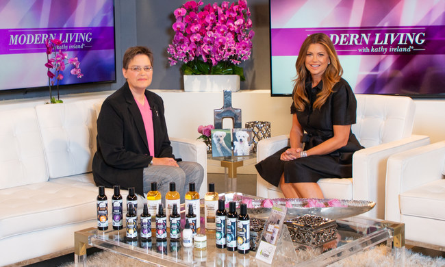 Melissa Boland, 4-Legger Founder on the Set of Modern Living with Kathy Ireland Sharing the Inspiring Story of A Breast Cancer Survivor Who Has Dedicated Her Life to Making the Pet Grooming Industry Safer and More Transparent