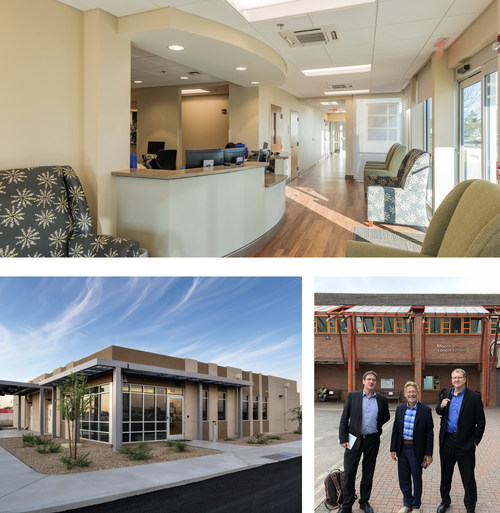 Top: Interior of a RAD modular clinic Bottom: (left) Completed Cancer Centre for Banner MD Anderson (right) RLB Healthcare Partner Kyle McClelland, RAD President John Lefkus and RAD Architect George Olear at a potential project site.