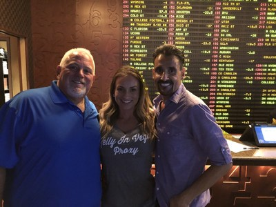 Professional sports handicappers Gianni the Greek and Bobby Ligs signing up for the Ultimate Football Challenge at the Golden Nugget Sportsbook in Las Vegas.