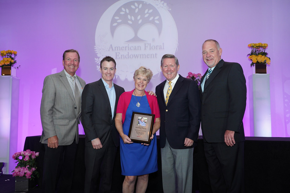 "2018 Recipient of Teleflora's Tom Butler ""Floral Retailer of the Year"" Award (Pictured left to right. Darrel Housden, Jeff Bennett, Award Recipient Shirley Lyons, Jack Howard, and Rick Davis.) Photo Source: American Floral Endowment"