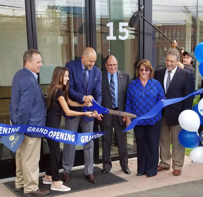 GRAND OPENING RIBBON CUTTING (Left to Right) - Mayor Michael McPartland, Mayor of Edgewater, Bergen County Deputy Director of Economic Development; Veronica Styles (daughter of Bob Styles); Bob Styles, President and CEO, ModernfoldStyles, Inc.; Mayor Gary Brugger, Mayor of South Hackensack; Judy Ross, Vice President, Meadowlands Chamber of Commerce; and Jim Kirkos, President and CEO, Meadowlands Chamber of Commerce.