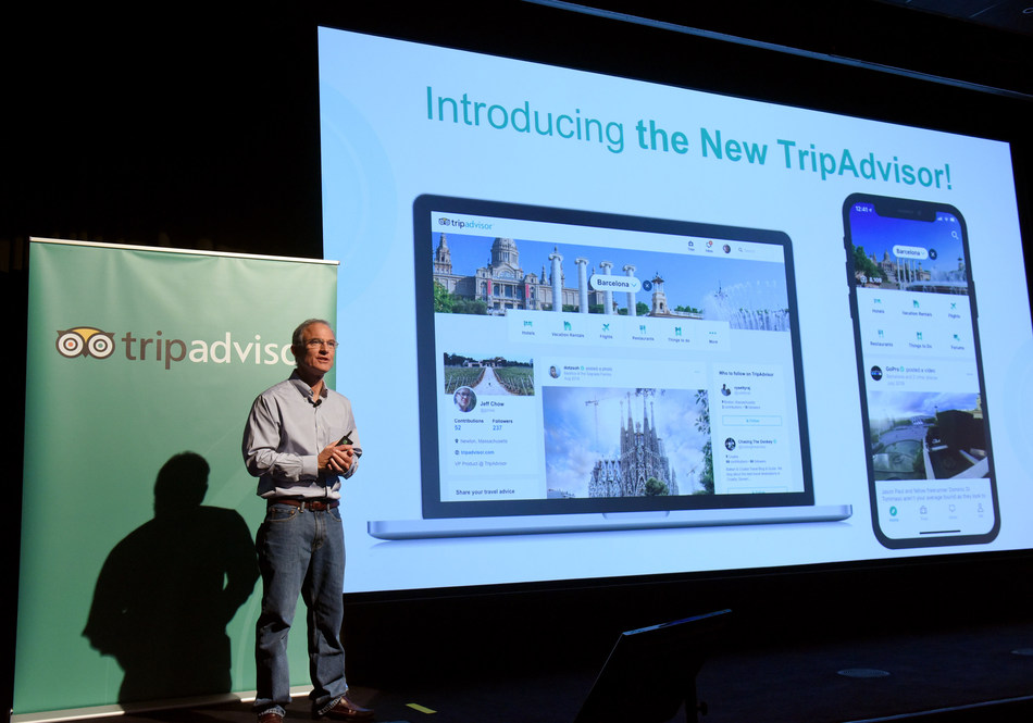 Steve Kaufer, CEO, introduces the new TripAdvisor travel feed on Sept. 17, 2018 in New York City.
