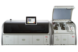 The HistoCore SPECTRA Workstation is the first and only workstation with dual glass coverslip lines, enabling the highest throughput of up to 570 dried slides per hour, to meet the most demanding turnaround times.