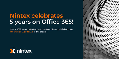 Nintex today is celebrating the worldwide success its partners and customers report with Nintex for Office 365. Public and private sector organizations have executed more than 105 million workflows since Nintex took its workflow automation platform to the cloud five years ago.