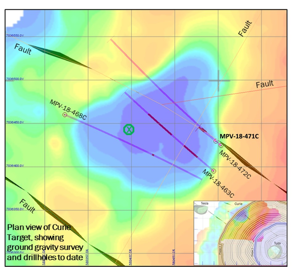 Figure 3: Plan view of drilling completed at the Curie kimberlite, wth kimberlite intercepts indicated in red. Inset shows position of the Curie kimberlite relative to the open pit plan at Tuzo. (CNW Group/Mountain Province Diamonds Inc.)