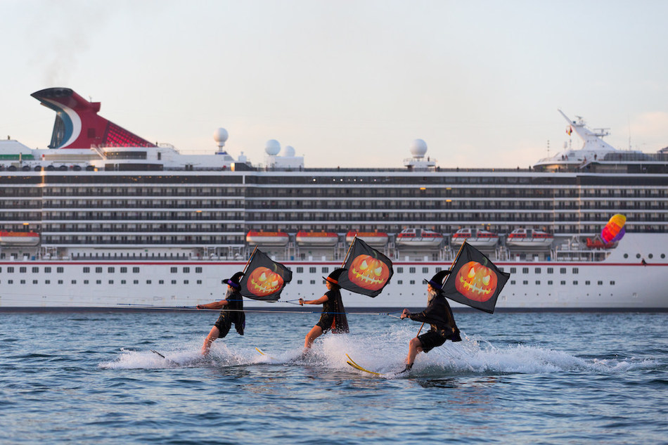 Witches take to waterskis to help celebrate Halloween on Carnival Cruise Line's Carnival Spirit, which operates year-round sailings in Australia. Photo courtesy of Carnival Cruise Line/Australia.