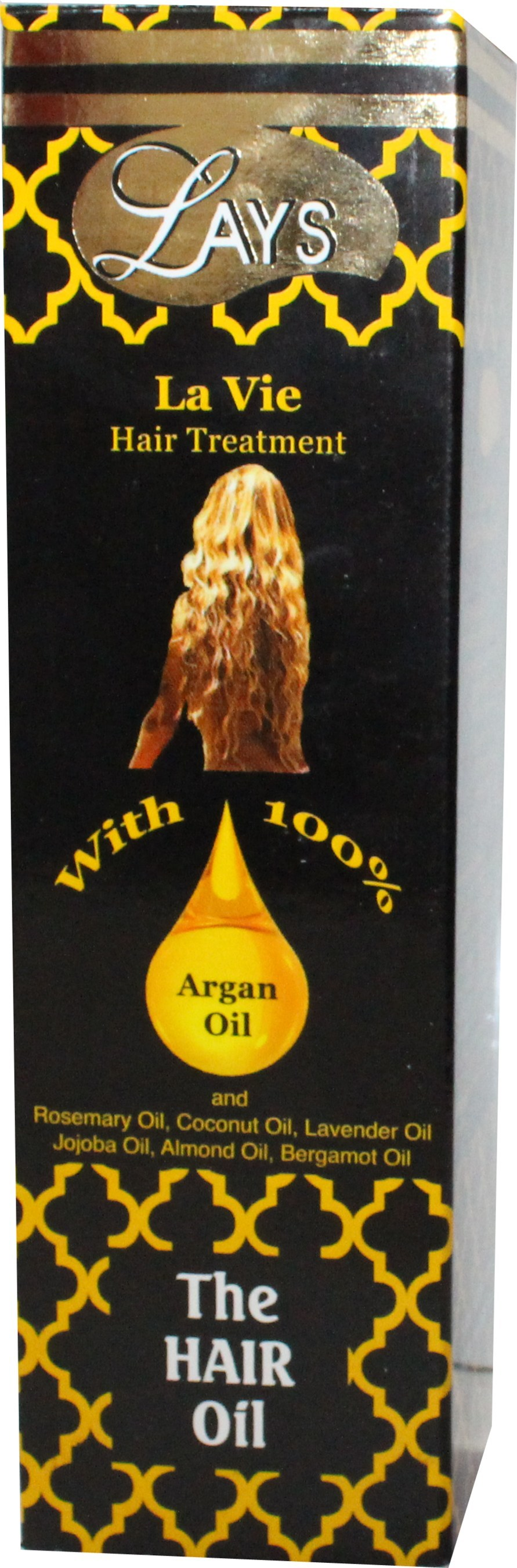 Lays Hair-Oil with Moroccan Argan Oil is a hair treatment made from argan, rosemary, coconut, lavender, jojoba, almond and bergamot oils.
