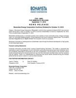 Bonavista Energy Corporation Confirms Dividend for October 15, 2018 (CNW Group/Bonavista Energy Corporation)