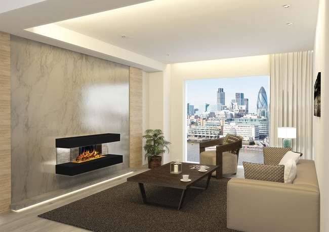 The Compton 2, by European Home, is an electric linear fireplace kit that comes with a contemporary black tile surround motif (also available in white-stone). Evoflame technology creates a stunning flame effect while providing all the added benefits of an electric fireplace such as: energy savings and installation flexibility.