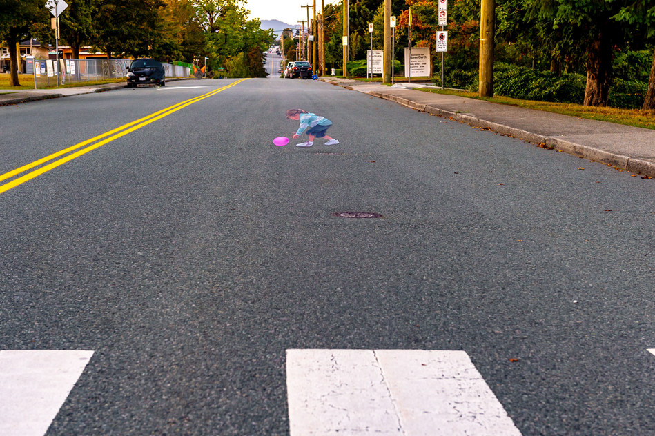 """BCAA and Preventable install """"Pavement Patty"""" in Burnaby school zone. (CNW Group/British Columbia Automobile Association (BCAA))"""