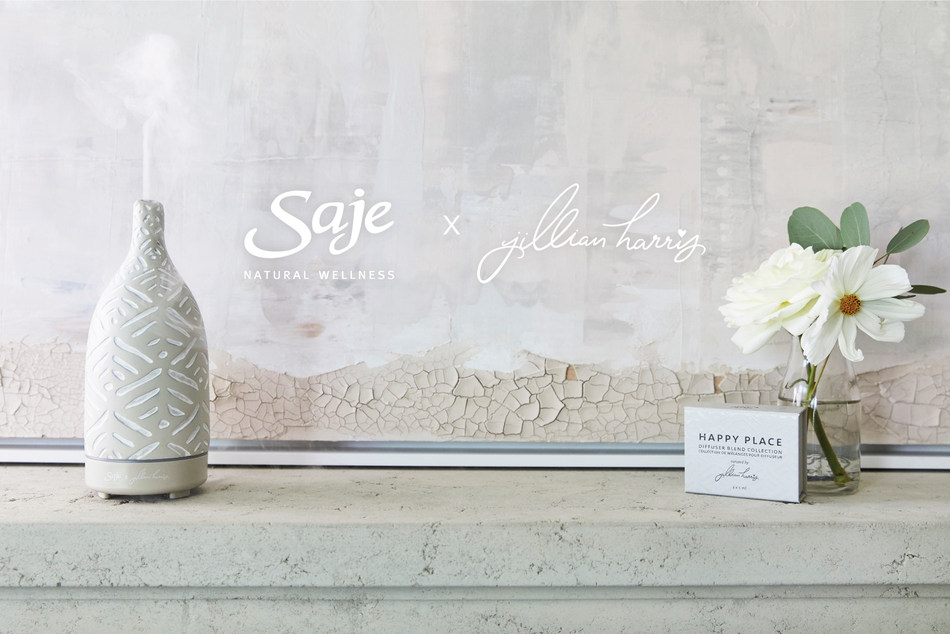 Saje x Jillian Harris collaborate on special edition aromaOm Diffuser and Happy Place Diffuser Blend Collection