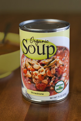 Soup can label representing Verso's OptiLitho™ C1S family of C1S glue-applied cut and stack label papers for label and converting applications.