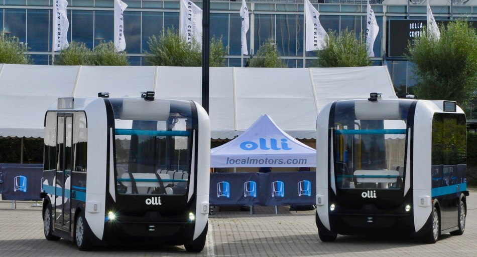 Two autonomous Olli shuttles on display at ITS World Congress in Copenhagen, Denmark.