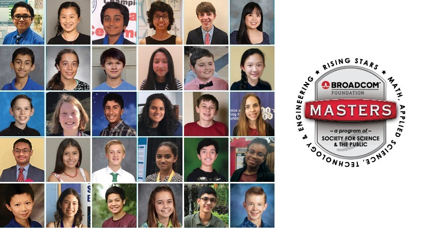 The top 30 Broadcom MASTERS finalists, the nation's premier STEM competition for middle school students.
