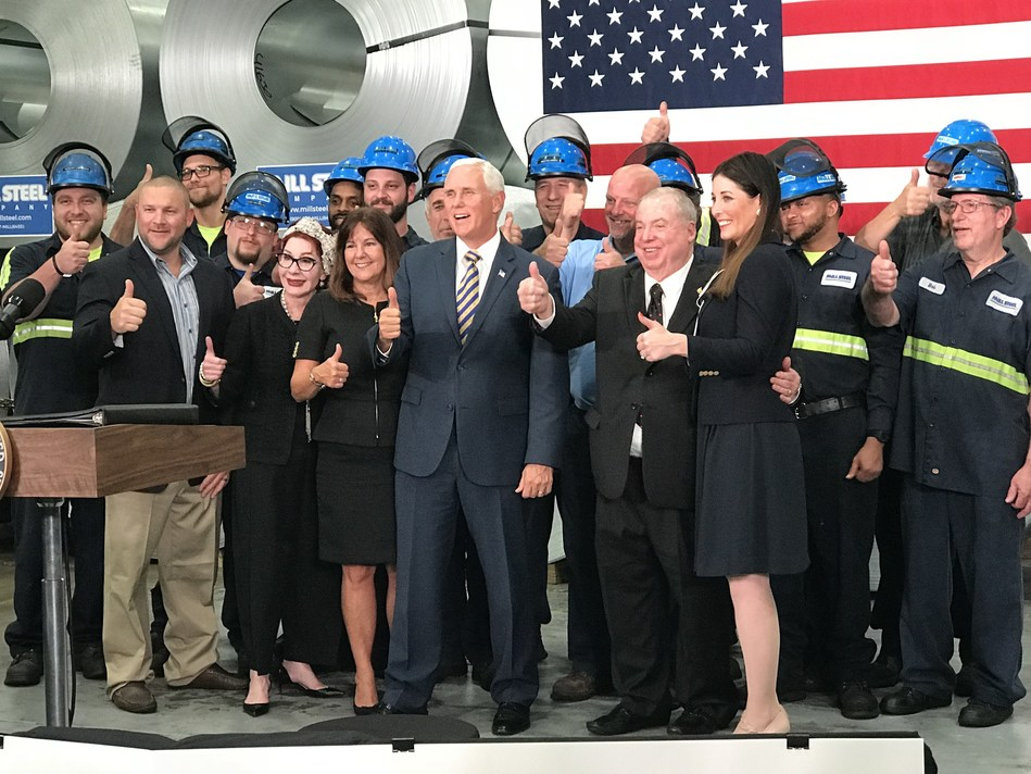 Vice President Mike Pence and Second Lady Karen Pence alongside Mill Steel CEO David Samrick and wife Susan Samrick, Mill Steel President Pam Heglund, and Mill Steel associates.