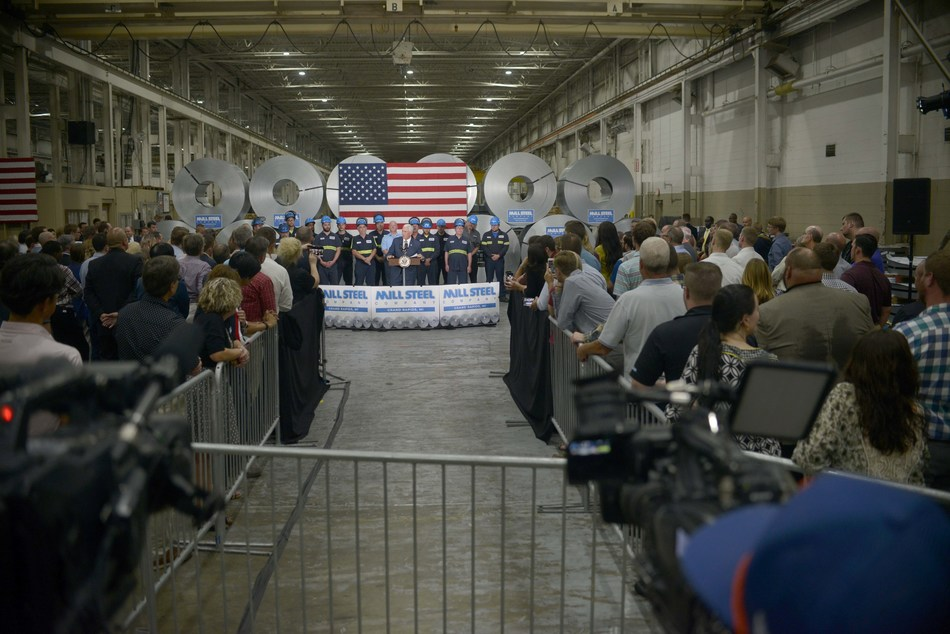Vice President Mike Pence speaks to Mill Steel Company associates at the steel service center's headquarters in Grand Rapids, MI.
