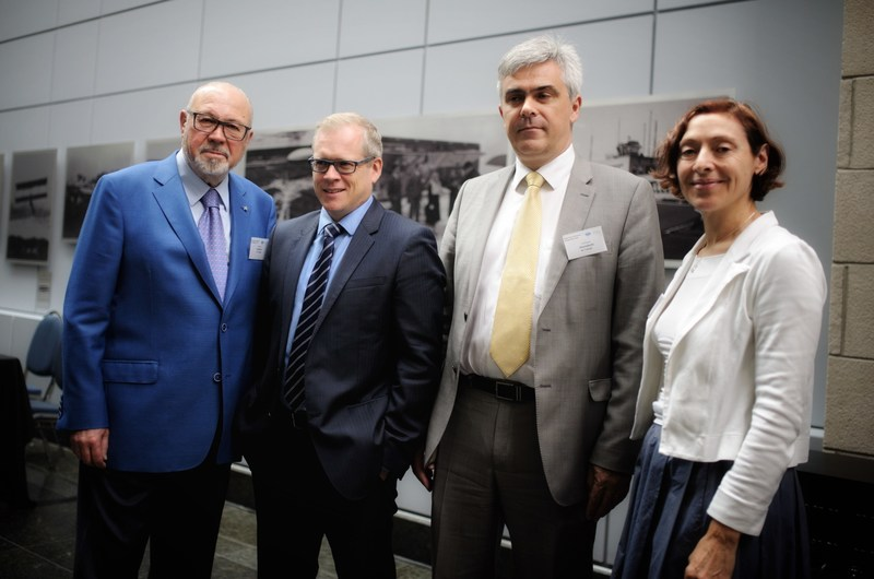 From left to right, Jean-Marc Eustache, President and Chief Executive Officer, Transat, Brian Myles, Director, Le Devoir, Christophe Hennebelle, Vice President, Human Ressources and Corporate Affairs, Transat, Odette Trottier, Director, Communications and Corporate Affairs, Transat (CNW Group/Le Devoir)