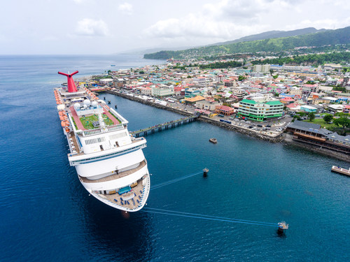 A Carnival ship, berthed at the Roseau Cruise Terminal in Dominica. Carnival is one of several cruise lines planning calls to Dominica in 2018 and 2019.