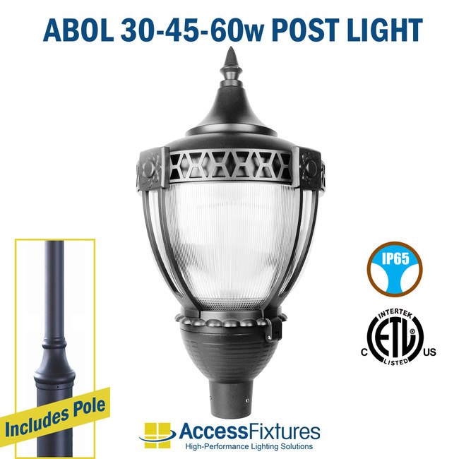 Our ABOL LED Outdoor Post Light provides uniform lighting and sophistication to sidewalks and park areas.