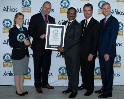 Photo Left to Right - GUINNESS WORLD RECORDS - Adjudicator, Hannah Ortman auDA, Cameron Boardman, Chief Executive Officer Afilias, Ram Mohan, Executive Vice President and Chief Technology Officer Alister Paterson, Head of Government Affairs, Strategic Advisor Roland LaPlante, Senior Vice President and Chief Marketing Officer