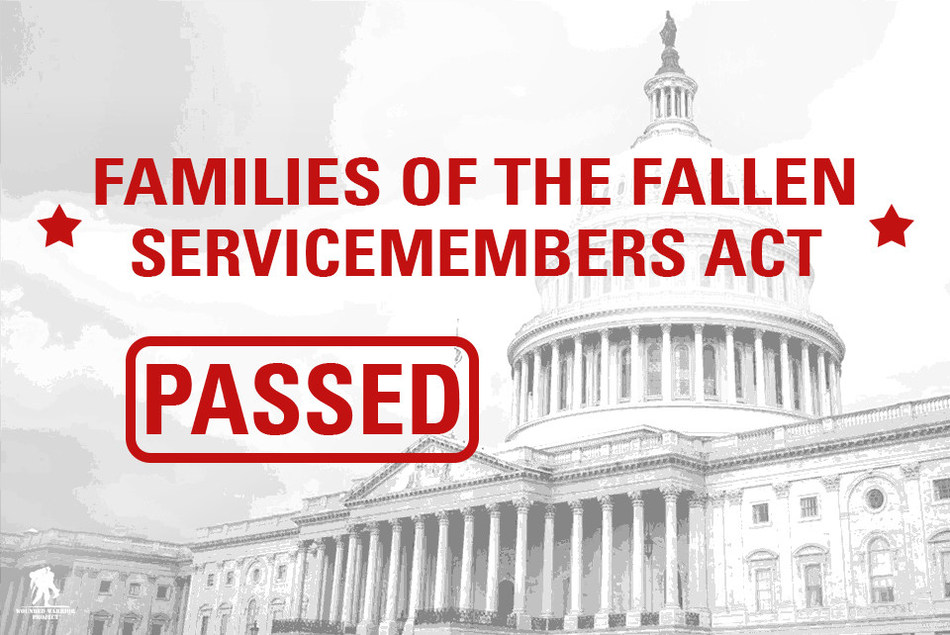 Wounded Warrior Project® (WWP) applauds the addition of H.R. 1928 Families of The Fallen Service Members Act to the minibus carrying the defense appropriations package and is proud to have led the way in advocating for this important change to the law.