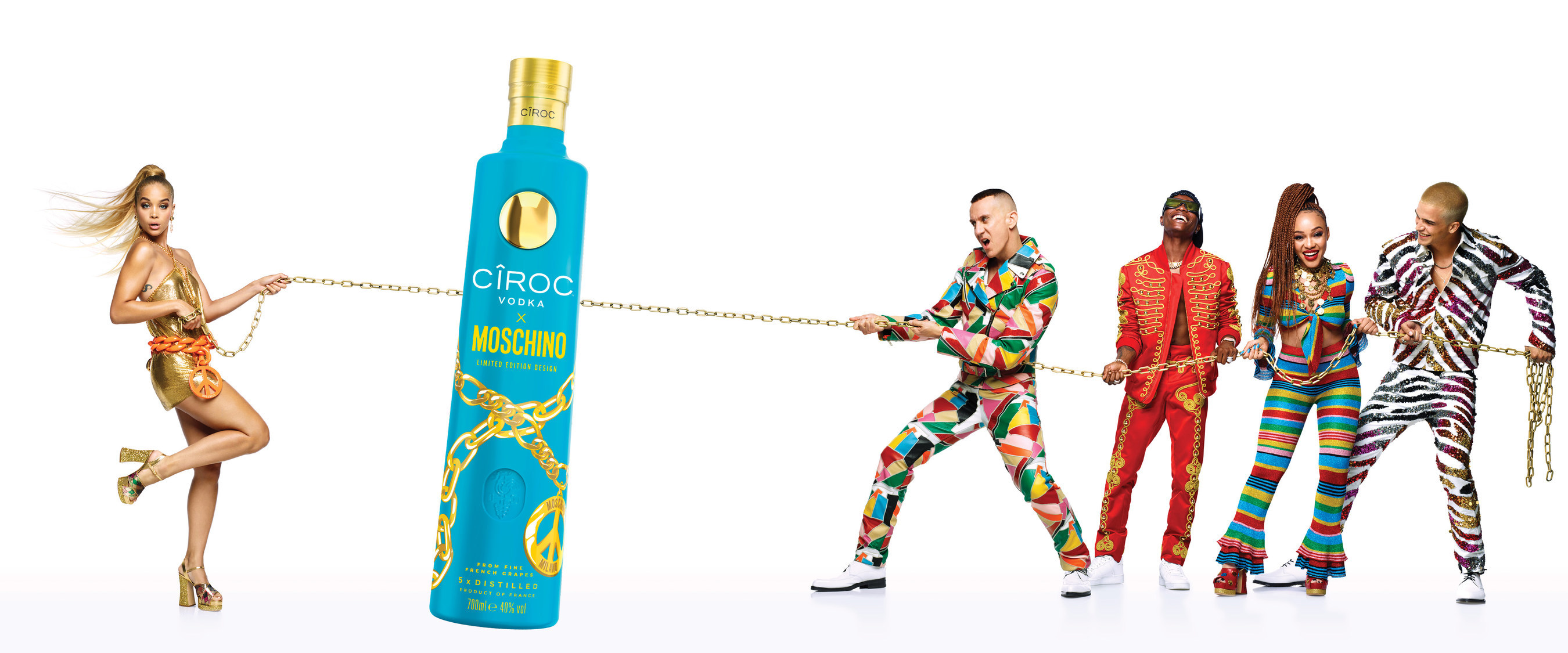 The CÃŽROC X Moschino LIMITED EDITION BOTTLE launches at Milan Fashion as part of the playful collaboration (PRNewsfoto/Ciroc Vodka)