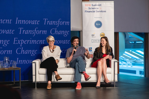 BEworks co-founders, Kelly Peters, Dan Ariely, and Nina Mažar at the 2018 Summit for Science in Financial Services (CNW Group/BEworks)