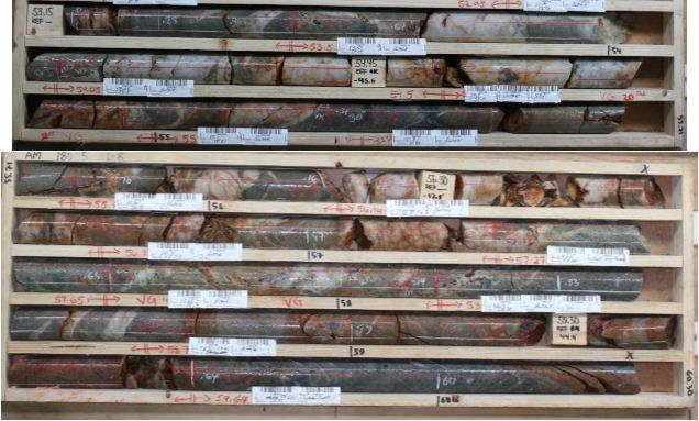 Aamurusko Main; Drillhole AM18035.  12.45 g/t Au over 5.2 m from 53.5 to 58.7 m (CNW Group/Aurion Resources Ltd.)
