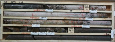 Aamurusko West; Quartz vein in drillhole RB18003; assays pending (CNW Group/Aurion Resources Ltd.)