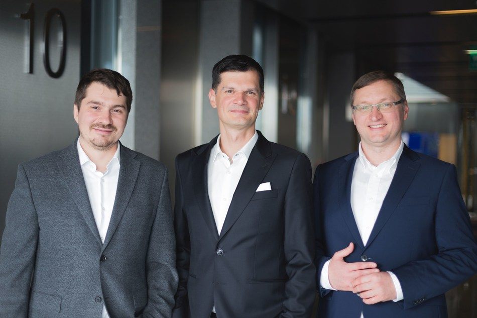 Lingaro Co-CEO's Tomasz Rogucki and Sebastian Stygar and ORBA CEO Roman Baluta (PRNewsfoto/Lingaro)