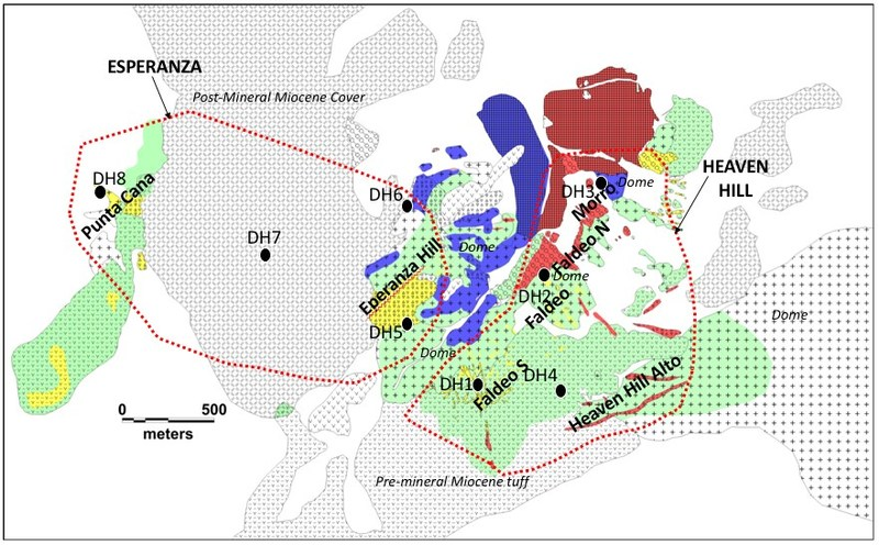 Figure 1 Location of proposed drill holes, Esperanza and Heaven Hill targets within the Don Julio project area. (CNW Group/Sable Resources Ltd.)